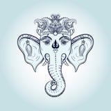 Συρμένο χέρι κεφάλι ελεφάντων Ινδική ινδή θεότητα Ganesha Λόρδου Θεών γ Στοκ Φωτογραφίες