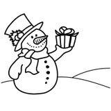 Συρμένο χέρι κιβώτιο δώρων εκμετάλλευσης χιονανθρώπων Στοκ Φωτογραφίες