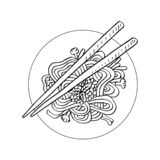 Συρμένο χέρι κινεζικό νουντλς ύφους απεικόνιση αποθεμάτων