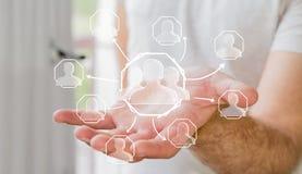 Συρμένο χέρι κοινωνικό δίκτυο εκμετάλλευσης επιχειρηματιών Στοκ Εικόνα