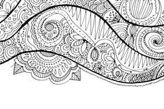 Συρμένο χέρι κυματιστό υπόβαθρο Doodle Χρωματίζοντας σελίδα για τους ενηλίκους Στοκ Φωτογραφία
