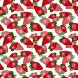 Συρμένο χέρι κόκκινο άνευ ραφής σχέδιο φραουλών στο άσπρο υπόβαθρο Σχέδιο για την ταπετσαρία ή το κλωστοϋφαντουργικό προϊόν ελεύθερη απεικόνιση δικαιώματος