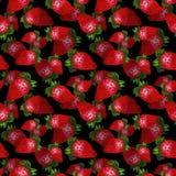 Συρμένο χέρι κόκκινο άνευ ραφής σχέδιο φραουλών στο μαύρο υπόβαθρο Σχέδιο για την ταπετσαρία ή το κλωστοϋφαντουργικό προϊόν απεικόνιση αποθεμάτων