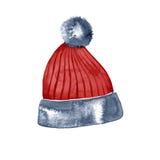 Συρμένο χέρι κόκκινο χειμερινό καπέλο watercolor διανυσματική απεικόνιση