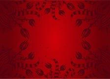 Συρμένο χέρι κόκκινο floral υπόβαθρο με τη θέση για το κείμενο Στοκ Εικόνες