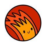 Συρμένο χέρι λογότυπο πυρκαγιάς logotype με τον πορτοκαλή αγοριών kawaii μινιμαλισμό τυπωμένων υλών αφισών μπλουζών προγράμματος  απεικόνιση αποθεμάτων