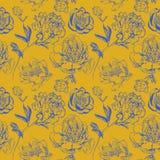 Συρμένο χέρι μελάνι peonies στο ασιατικό ύφος διανυσματική απεικόνιση