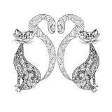 Συρμένο χέρι μονοχρωματικό zentangle δύο γάτες για την τυπωμένη ύλη μπλουζών Στοκ εικόνες με δικαίωμα ελεύθερης χρήσης