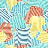 Συρμένο χέρι μπλε πορτοκαλί και κίτρινο ριγωτό άνευ ραφής σχέδιο μπλουζών longsleeve απεικόνιση αποθεμάτων