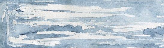 Συρμένο χέρι μπλε αφηρημένο υπόβαθρο Θάλασσα και ουρανός Watercolor Χρωματίζοντας ριγωτή απεικόνιση Στοκ Εικόνα