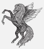 Συρμένο χέρι μυθολογικό φτερωτό άλογο Pegasus Βικτοριανό μοτίβο, τ Στοκ Φωτογραφία