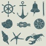 Συρμένο χέρι ναυτικό σύνολο Διανυσματική απεικόνιση