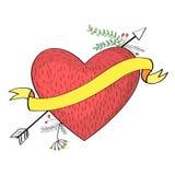 Συρμένο χέρι να διαπερνήσει βελών μέσω της καρδιάς Στοκ φωτογραφίες με δικαίωμα ελεύθερης χρήσης
