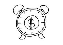 Συρμένο χέρι ξυπνητήρι με την ιδέα χρημάτων και γραφικών παραστάσεων για την επιχείρηση γ στοκ εικόνα