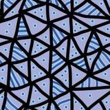 Συρμένο χέρι πολύχρωμο σχέδιο Άνευ ραφής διανυσματικό αφηρημένο υπόβαθρο με τα μαύρα τρίγωνα με τις μπλε γραμμές και τα σημεία Στοκ Φωτογραφίες