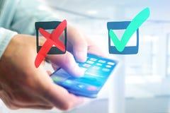 Συρμένο χέρι πράσινο και κόκκινο εικονίδιο κροτώνων που βγαίνει ένα smartphone interf Στοκ φωτογραφία με δικαίωμα ελεύθερης χρήσης