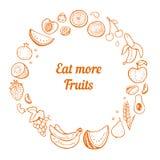 Συρμένο χέρι πλαίσιο φρούτων Στοκ εικόνες με δικαίωμα ελεύθερης χρήσης