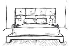 Συρμένο χέρι σκίτσο Γραμμικό σκίτσο ενός εσωτερικού Κρεβατοκάμαρες γραμμών σκίτσων επίσης corel σύρετε το διάνυσμα απεικόνισης Στοκ εικόνες με δικαίωμα ελεύθερης χρήσης