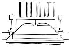 Συρμένο χέρι σκίτσο Γραμμικό σκίτσο ενός εσωτερικού σκίτσο Στοκ Φωτογραφία