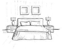 Συρμένο χέρι σκίτσο Γραμμικό σκίτσο ενός εσωτερικού σκίτσο Στοκ Εικόνα