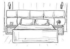 Συρμένο χέρι σκίτσο Γραμμικό σκίτσο ενός εσωτερικού σκίτσο Στοκ Φωτογραφίες