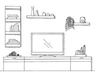 Συρμένο χέρι σκίτσο Γραμμικό σκίτσο του εσωτερικού Βιβλιοθήκη, κομμό με τη TV και ράφια Στοκ φωτογραφία με δικαίωμα ελεύθερης χρήσης