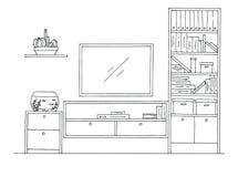 Συρμένο χέρι σκίτσο Γραμμικό σκίτσο του εσωτερικού Στοκ Εικόνες