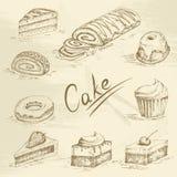 Συρμένο χέρι σκίτσο κέικ Στοκ Εικόνες