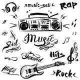 Συρμένο χέρι σκίτσο με τις σημειώσεις, το φορέα μουσικής, την κιθάρα και τη μουσική Στοκ εικόνα με δικαίωμα ελεύθερης χρήσης