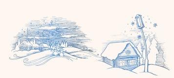 Συρμένο χέρι σκίτσο Σπίτι χειμερινών νεράιδων έξω Δάσος και χιόνι πεύκων επίσης corel σύρετε το διάνυσμα απεικόνισης Πρότυπο για  διανυσματική απεικόνιση