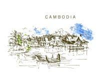 Συρμένο χέρι σκίτσο τοπίων της Καμπότζης Στοκ εικόνα με δικαίωμα ελεύθερης χρήσης