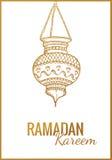 Συρμένο χέρι σκίτσο του φακού Ramadan Kareem Εκλεκτής ποιότητας διανυσματική ανασκόπηση Χαιρετώντας αραβικό παραδοσιακό φανάρι Στοκ φωτογραφία με δικαίωμα ελεύθερης χρήσης