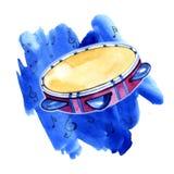 Συρμένο χέρι σκίτσο του pandeiro Εθνικό τύμπανο σε έναν φωτεινό μπλε λεκέ διανυσματική απεικόνιση