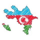 Συρμένο χέρι σκίτσο χαρτών του Αζερμπαϊτζάν Διανυσματική σημαία απεικόνισης έννοιας, σχέδιο των παιδιών, χάρτης κακογραφίας Χάρτη ελεύθερη απεικόνιση δικαιώματος