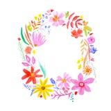 Συρμένο χέρι στεφάνι λουλουδιών watercolor στο άσπρο υπόβαθρο ελεύθερη απεικόνιση δικαιώματος