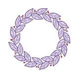 Συρμένο χέρι στεφάνι με τα φύλλα και τα μούρα, χρωματισμένη απεικόνιση σκίτσων Στοκ Εικόνες