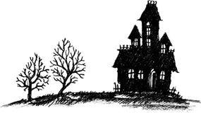 Συρμένο χέρι συχνασμένο σπίτι διανυσματική απεικόνιση