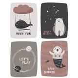 Συρμένο χέρι σχέδιο παιδιών Κάρτες με τα χαριτωμένα ζώα και τις φράσεις απεικόνιση αποθεμάτων