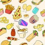 Συρμένο χέρι σχέδιο στοιχείων γρήγορου φαγητού r διανυσματική απεικόνιση