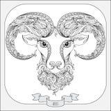 Συρμένο χέρι σχέδιο για το χρωματισμό zodiac Aries βιβλίων Στοκ Φωτογραφίες