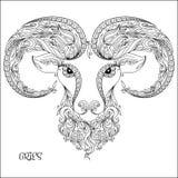 Συρμένο χέρι σχέδιο για το χρωματισμό zodiac Aries βιβλίων Στοκ φωτογραφία με δικαίωμα ελεύθερης χρήσης
