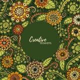 Συρμένο χέρι σχέδιο με τα αφηρημένα λουλούδια και τα φύλλα doodle Το Zentangle ενέπνευσε το floral σχέδιο διανυσματική απεικόνιση