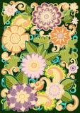 Συρμένο χέρι σχέδιο με τα αφηρημένα λουλούδια και τα φύλλα doodle Το Zentangle ενέπνευσε το floral σχέδιο ελεύθερη απεικόνιση δικαιώματος