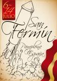 Συρμένο χέρι σχέδιο με τον πύραυλο, ταύροι, σημαία της Ισπανίας για Sanfermines, διανυσματική απεικόνιση Στοκ Εικόνες