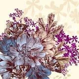 Συρμένο χέρι σχέδιο λουλουδιών με τα λουλούδια και τις πεταλούδες Στοκ φωτογραφίες με δικαίωμα ελεύθερης χρήσης