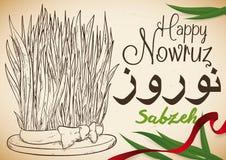 Συρμένο χέρι σχέδιο του σίτου και της κορδέλλας για τον εορτασμό Nowruz, διανυσματική απεικόνιση Στοκ Φωτογραφία