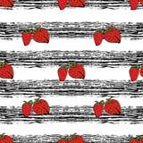 Συρμένο χέρι σχέδιο φραουλών στις μαύρες λουρίδες Στοκ Φωτογραφίες