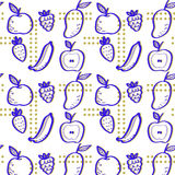 Συρμένο χέρι σχέδιο φρούτων Σύσταση τυπωμένων υλών Σχέδιο υφάσματος διανυσματική απεικόνιση