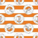 Συρμένο χέρι σχέδιο Lifebuoy στις πορτοκαλιές λουρίδες Στοκ φωτογραφία με δικαίωμα ελεύθερης χρήσης