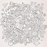 Συρμένο χέρι σχολείο doodles κινούμενων σχεδίων διανυσματικό περιγραμματικό Στοκ Εικόνες